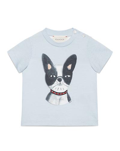 Short-Sleeve Bulldog Jersey Tee, Blue, Size 6-36 Months