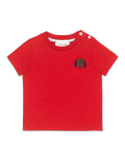 Short-Sleeve Dog Jersey Tee, Flame/Black, Size 6-36 Months