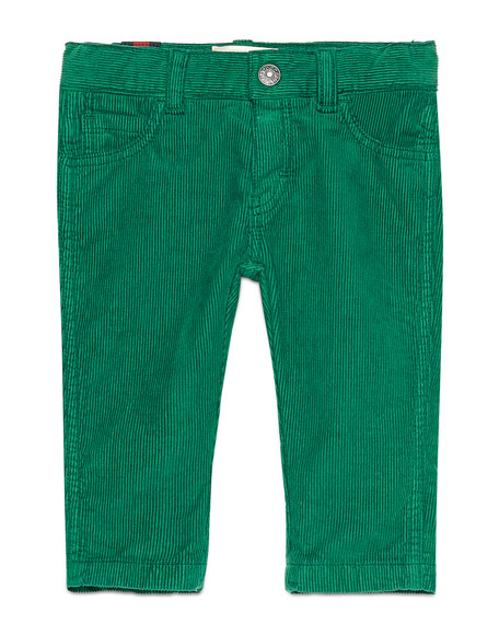 Gucci Straight-Leg Stretch Corduroy Pants, Green, Size 6-36