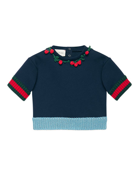 Gucci Short-Sleeve Neoprene Sweatshirt, Navy, Size 6-36 Months