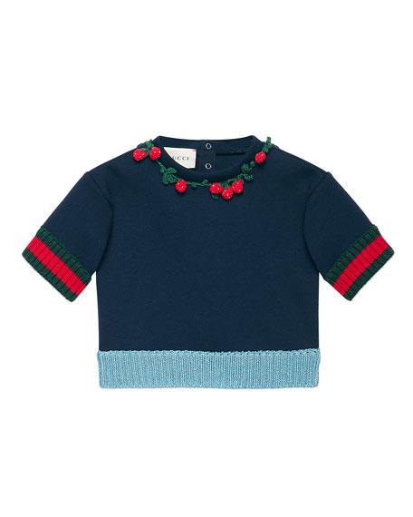 Gucci Short-Sleeve Neoprene Sweatshirt, Navy, Size 6-36 Months