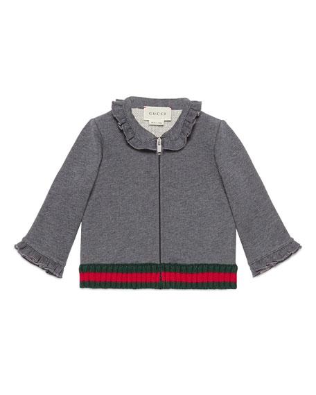 Gucci Long-Sleeve Cotton Zip-Front Sweatshirt, Medium Gray, Size