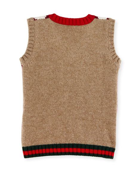 Gucci Gilet Wool Argyle Sweater Vest, Camel/Red/Green, Size 6-36 ...