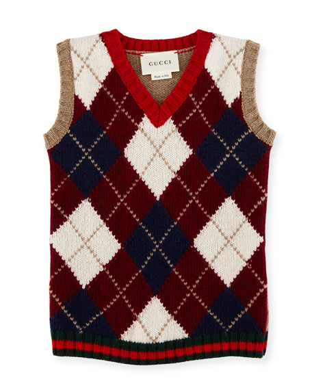Gucci Gilet Wool Argyle Sweater Vest, Camel/Red/Green, Size