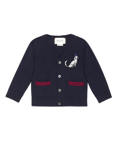 Wool Button-Front V-Neck Cardigan, Navy/Bordeaux, Size 6-36 Months