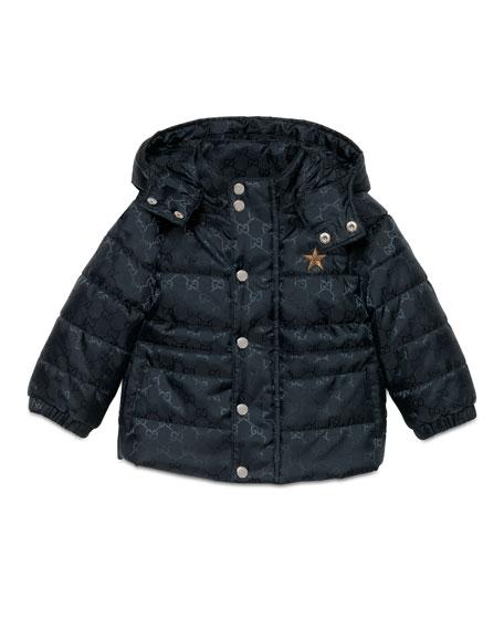 Gucci GG Jacquard Puffer Jacket, Navy, Size 6-36