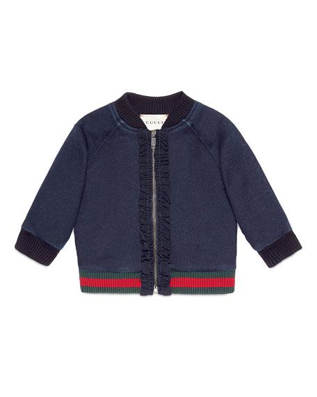 GucciRuffle-Trim Raglan Bomber Jacket, Indigo, Size 6-36 Months