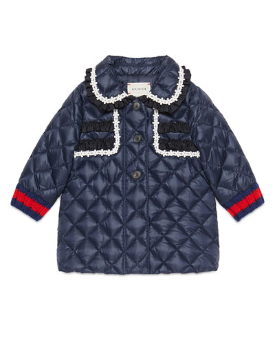 Gucci Quilted Collared Down Coat, Royal Blue, Size 12-36 Months