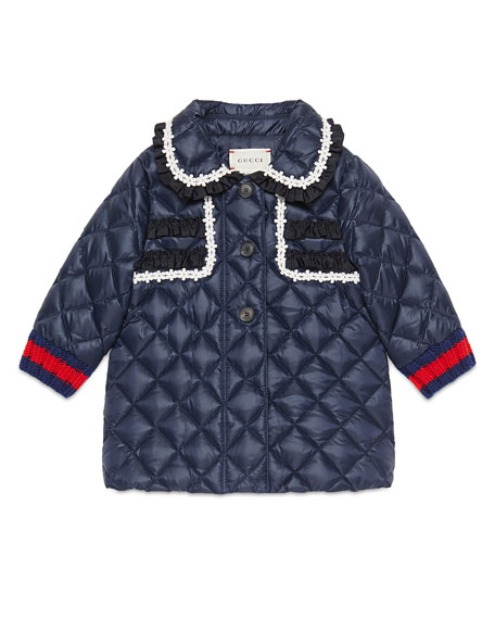 Gucci Quilted Collared Down Coat, Royal Blue, Size