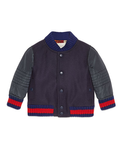 Padded Wool Bomber Jacket, Cobalt/Red, Size 12-36 Months