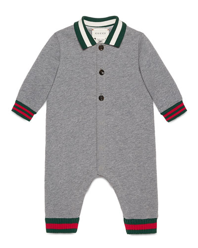 Long-Sleeve Collared Fleece Coverall, Gray/Green/Red, Size 3-24 Months
