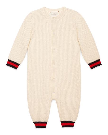 Gucci Cashmere Button-Front Coverall, White/Blue, Size 3-24
