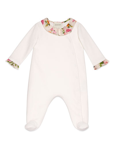 Long-Sleeve Floral-Trim Footie Pajamas, White, Size 3-12 Months