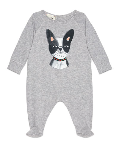 Long-Sleeve Bulldog Footie Pajamas, Gray/Black, Size 3-12 Months
