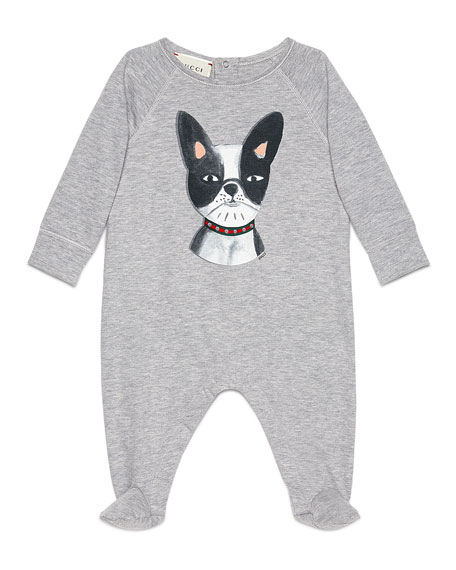 GucciLong-Sleeve Bulldog Footie Pajamas, Gray/Black, Size 3-12