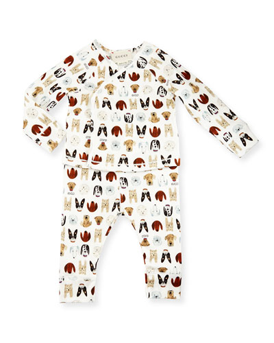 Dog-Print Cotton Pajama Set, White, Size 3-24 Months