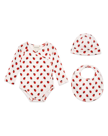 Gucci Ladybug Layette Set, White/Red/Black, Size 3-24 Months