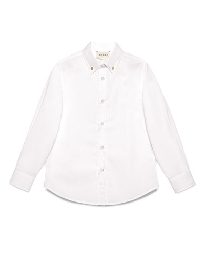 Long-Sleeve Stretch Poplin Shirt, White, Size 4-12