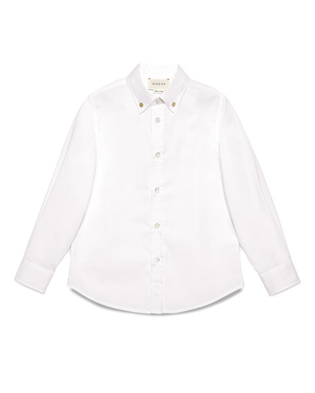 Long-Sleeve Stretch Poplin Shirt, White, Size 4-12