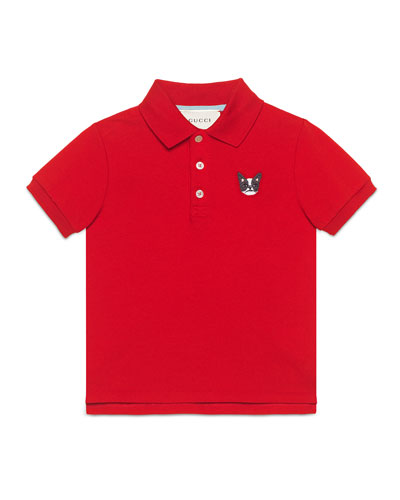 Short-Sleeve Pique Polo Shirt, Red, Size 4-12