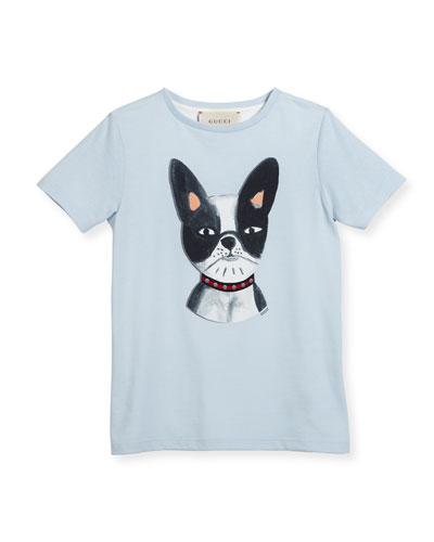 Short-Sleeve French Bulldog Tee, Pale Blue, Size 4-12