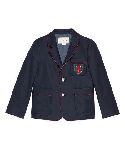 Piped Wool Prep School Blazer, Navy, Size 4-12