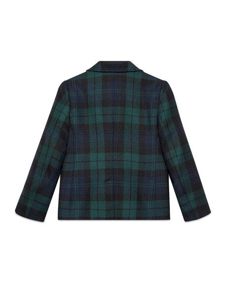 Plaid Wool Prep School Jacket, Abyss/Black, Size 4-12