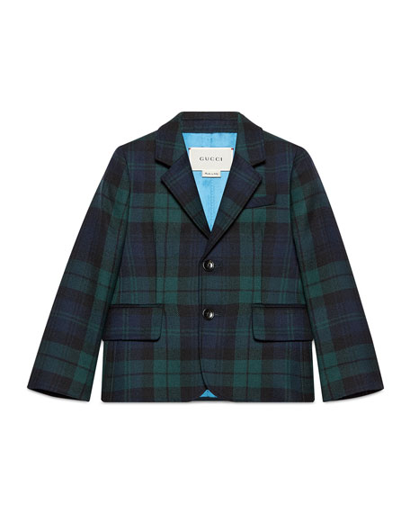 Gucci Plaid Wool Prep School Jacket, Abyss/Black, Size