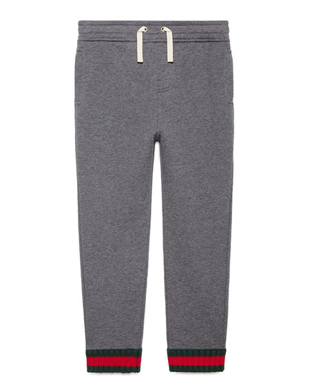 Jersey Drawstring Track Pants, Gray, Size 4-12