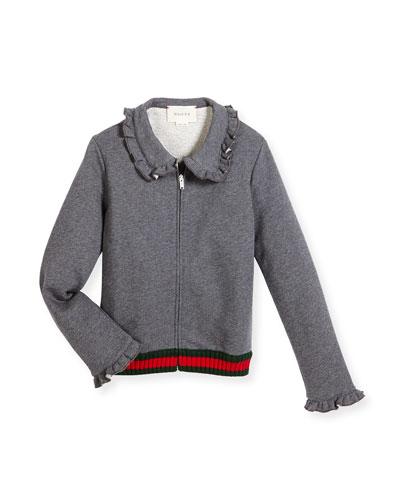 Melange Ruffle-Trim Track Jacket, Gray, Size 4-12