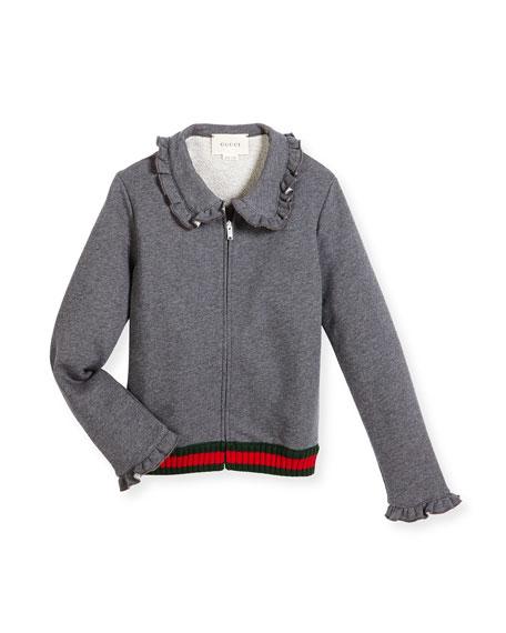Gucci Melange Ruffle-Trim Track Jacket, Gray, Size 4-12