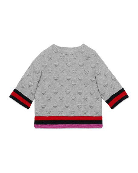 Textured Stars & Hearts Sweatshirt, Gray, Size 4-12