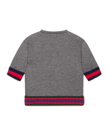 Short-Sleeve Neoprene Cat Pullover Sweatshirt, Gray, Size 4-12