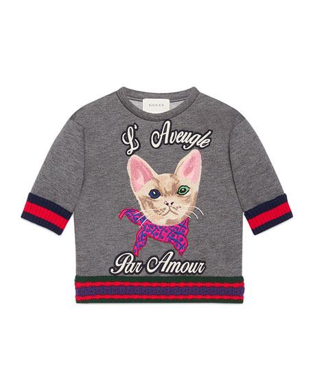 Gucci Short-Sleeve Neoprene Cat Pullover Sweatshirt, Gray, Size