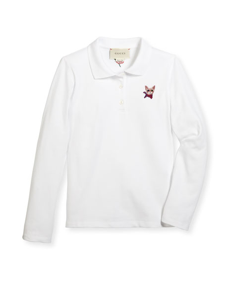 Gucci Long-Sleeve Cat-Embroidered Polo Shirt, White/Red, Size