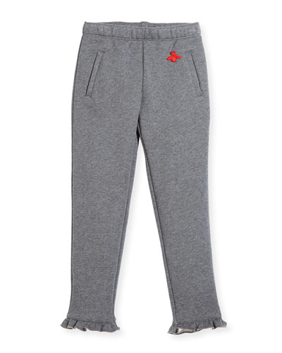 Heathered Cotton Track Pants, Gray, Size 4-12