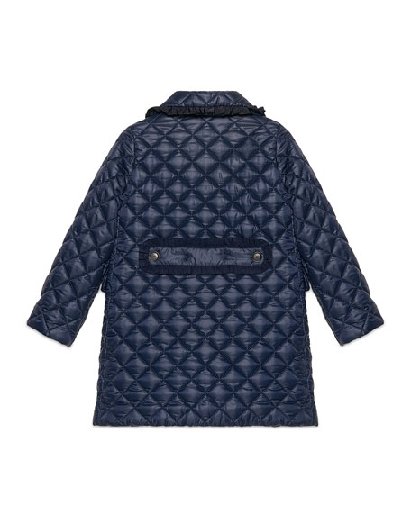 Quilted Long Ruffle-Trim Jacket, Royal Blue, Size 4-12