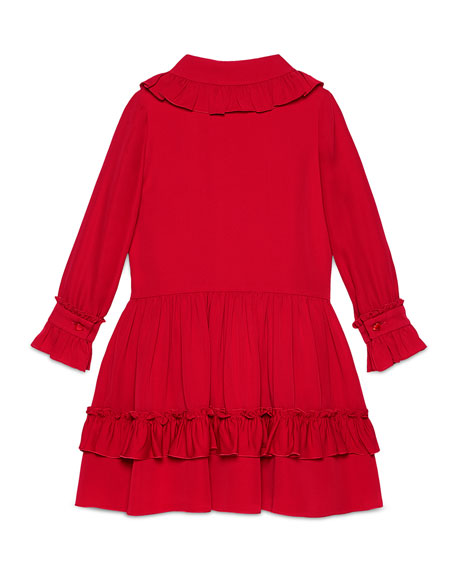 Long-Sleeve Tiered Silk Dress, Volcanic Red, 4-12