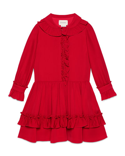 Long-Sleeve Tiered Silk Dress, Volcanic Red, 4-12