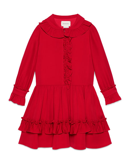 Gucci Long-Sleeve Tiered Silk Dress, Volcanic Red, 4-12