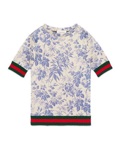 Gucci Short-Sleeve Floral Jersey Dress, Blue Sapphire, Size
