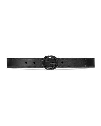 Kids' GG Leather Belt, Black