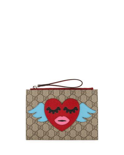 Girls' GG Supreme Flying Heart Wristlet Bag, Beige