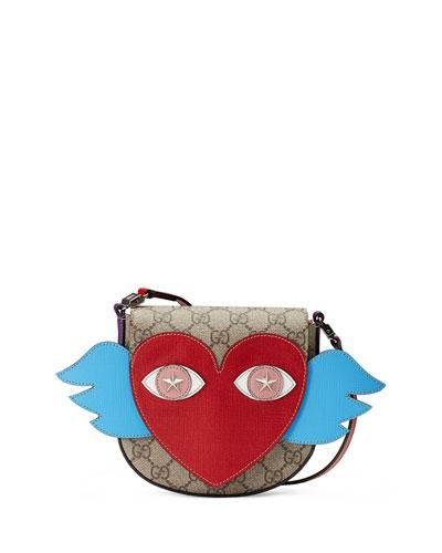 Girls' GG Supreme Flying Heart Messenger Bag, Beige