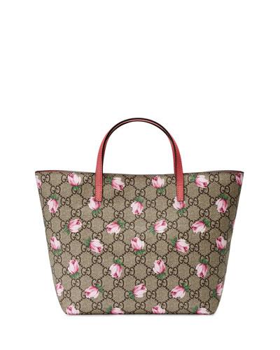Girls' GG Supreme Roses Tote Bag, Beige