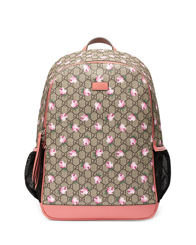 Classic GG Supreme Rose Backpack Diaper Bag, Beige