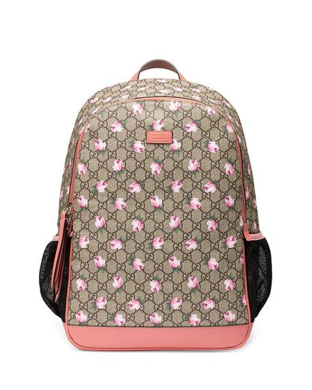 Gucci Classic Gg Supreme Rose Backpack Diaper Bag Beige