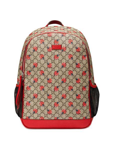 e60fcc77ebf7 Gucci Classic GG Supreme Ladybug Backpack Diaper Bag, Beige   Neiman Marcus