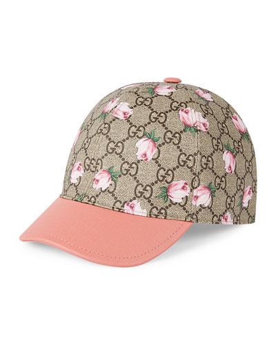 Girls' GG Rose Baseball Cap, Mahogany/Pink