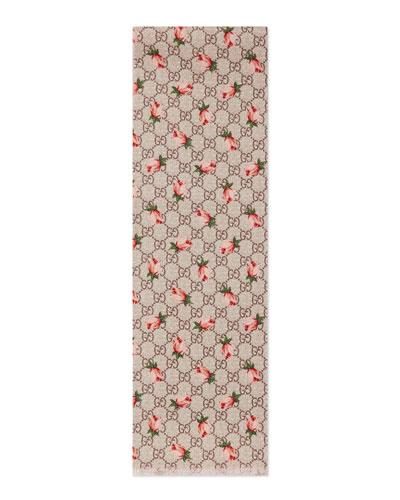 Girls' Rose-Print Wool Logo Scarf, Beige/Pink